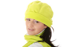 Casual young women in winter hat Royalty Free Stock Photography