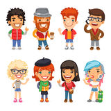 Casually Dressed Cartoon Characters Stock Photo