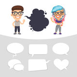 Casually Dressed Characters with a Speech Bubbles stock illustration