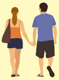 Casually Dressed Couple Walking Away Royalty Free Stock Images