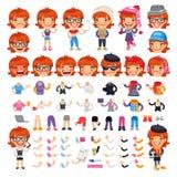 Casually Dressed Female Cartoon Character Stock Photos