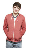 Casually dressed teenage boy smiling stock image
