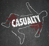 Casualty Chalk Outline Dead Body Hurt Injury Accident. Casualty word on a chalk outline on black pavement to illustrate someone who has been killed, injured or Royalty Free Stock Photos
