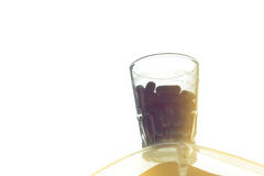 Casule preventivpillerar i exponeringsglaset Royaltyfria Bilder