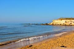 Casuzze beach sicily, italy. Casuzze beach between marina di ragusa and punta secca, sicily, italy stock photo
