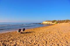 Casuzze beach sicily, italy. Casuzze beach between marina di ragusa and punta secca, sicily, italy royalty free stock images