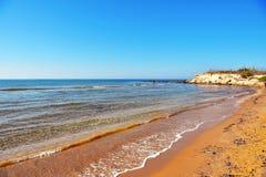 Casuzze beach sicily, italy. Casuzze beach between marina di ragusa and punta secca, sicily, italy royalty free stock photography