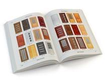 Catálogo das portas de madeira isoladas no branco Design de interiores e c ilustração do vetor