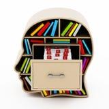 Catálogo de cartão do índice dentro da gaveta principal da biblioteca ilustração 3D ilustração stock