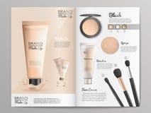 Catálogo de productos de los cosméticos o plantilla del folleto ilustración del vector