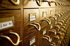 Catálogo de tarjeta viejo de biblioteca Fotografía de archivo libre de regalías