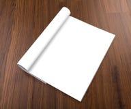 Catálogo en blanco, folleto, revistas, mofa del libro para arriba en el backgroun de madera imagen de archivo