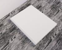 Catálogo vazio, compartimentos, zombaria do livro acima na ilustração de madeira do fundo 3d ilustração do vetor