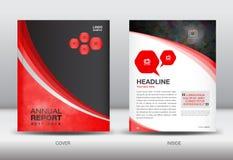 Catálogo vermelho e preto do projeto da tampa do molde do informe anual Fotos de Stock