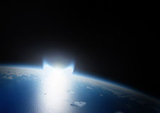Catástrofe del impacto asteroide en la tierra imagen de archivo libre de regalías