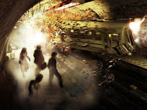 Catástrofe do metro Fotos de Stock Royalty Free