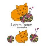 CAT织毛衣者动画片动物传染媒介例证商标集合 向量例证