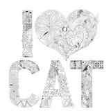 CAT ВЛЮБЛЕННОСТИ слова I для красить Объект zentangle вектора декоративный Стоковые Фотографии RF