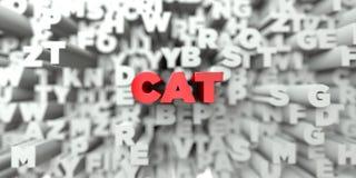 CAT -在印刷术背景的红色文本- 3D回报了皇族自由储蓄图象 库存照片