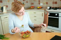 With a cat. An image of woman in the kitchen with a cat Royalty Free Stock Image