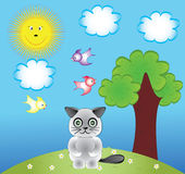 Cat. And birds.cartoon clip-art and illustration Royalty Free Stock Photography