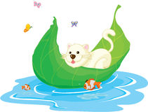 Cat. Illustration of a cat sitting in boat Royalty Free Stock Images