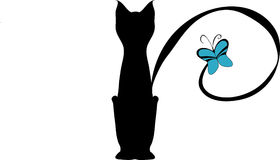 A cat. There is a cat with a butterfly on its tail Royalty Free Stock Images