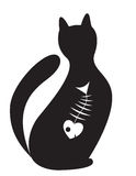 Cat. Silhouette of cat with the skeleton of fish inwardly Stock Image