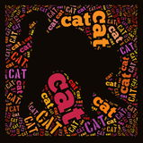 Cat. Wordcloud: silhouette of a cat on isolate background Stock Images