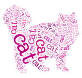 Cat. Wordcloud: silhouette of a cat on white background Stock Image