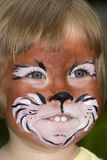 Cat. Beautiful child with a painted cat face Stock Photos