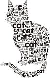 Cat. The black cat silhouette, made from a many cat words