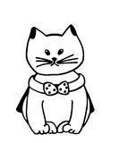 Cat. Cartoon fancy cat drawing in line art Royalty Free Stock Photo
