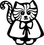 Cat. Cartoon fancy cat drawing in line art Stock Image