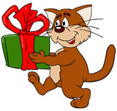 Cat. And a present stock illustration