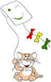Cat. With a kite vector illustration