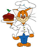 Cat. With a cake royalty free illustration