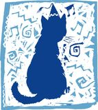 Cat. Blue colour silhouette image cat on cold background Royalty Free Stock Photos