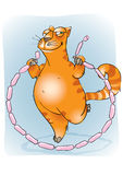 Cat_5. A cat jumping with sausages Royalty Free Stock Photo