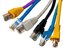 Cat 5 cables in multiple colors Royalty Free Stock Photos