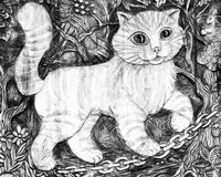 Cat. Black and white illustration Stock Photo