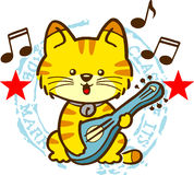 Cat. A little cat playing guitar stock illustration