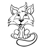 Cat. Cartoon cute cat drawing in line art Stock Photography