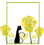 Cat. Romantic cat over floral background with rough frame Royalty Free Stock Photo