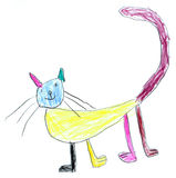 Cat. Colorful cat - original kid's drawing Stock Images