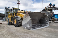 CAT 988H Dumper machine. A CAT 988H dumper at a gravel/granite crushing site Royalty Free Stock Photo
