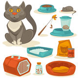 Cat accessories set. Pet supplies Stock Photos
