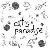 Cat accessory, cute vector animal icons. Pet equipment food domestic feline illustration Royalty Free Stock Photo