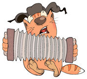 Cat and accordion cartoon Stock Images