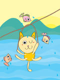 Cat adventure. Illustration cat adventure playing fishes Royalty Free Stock Photography